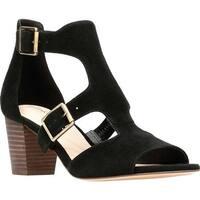 Clarks Women's Deloria Kay Block Heel Sandal Black Suede