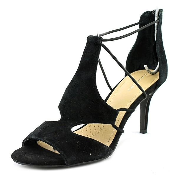 ec30523e455 Shop Tahari Dara Women Open-Toe Suede Black Heels - Free Shipping On ...