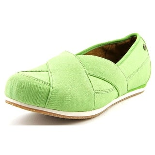 MOZO Sport Flat Women Round Toe Canvas Green Flats
