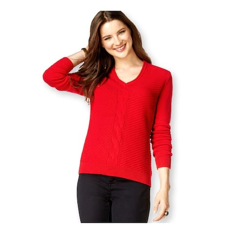 American Living Womens Solid Knit Pullover Sweater, red, XX-Large