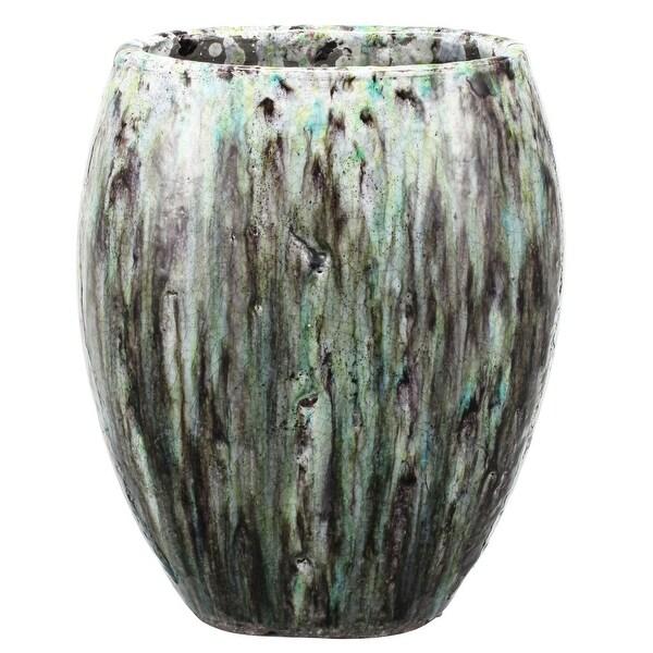 "14.5"" Black and Green Terracotta Dynamic Patina Vase - N/A"