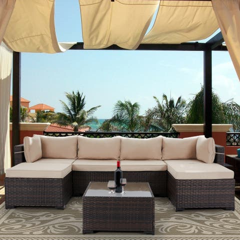 7-Piece Patio Conversation Sets Outdoor Sectional Sofas with Cushions