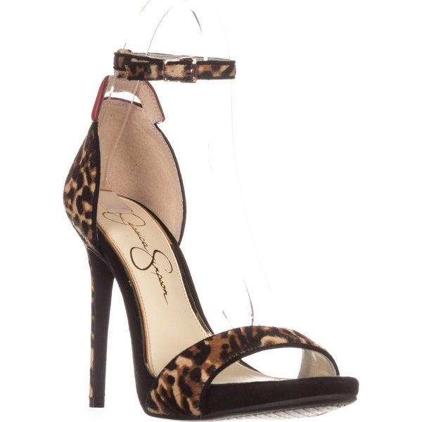 Jessica Simpson Reenahs Ankle-Strap Dress Sandals, Natural/Red/Leopard