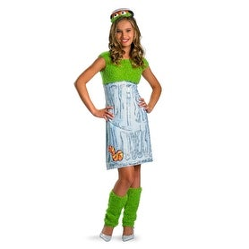 Girls Oscar The Grouch Sesame Street Teen Costume - large (size 10-12)