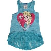 Disney Girls Turquoise Elsa Character Print Lace Sleeveless Top 7-16