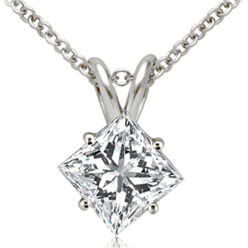 0.35 cttw. 14K White Gold Princess Cut Diamond 4-Prong Basket Solitaire Pendant - White H-I