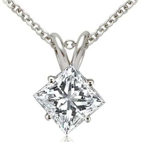 0.50 cttw. 14K White Gold Princess Cut Diamond 4-Prong Basket Solitaire Pendant