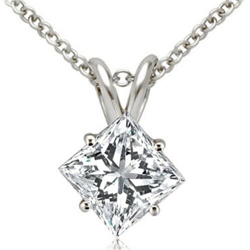 0.75 cttw. 14K White Gold Princess Cut Diamond 4-Prong Basket Solitaire Pendant - White H-I