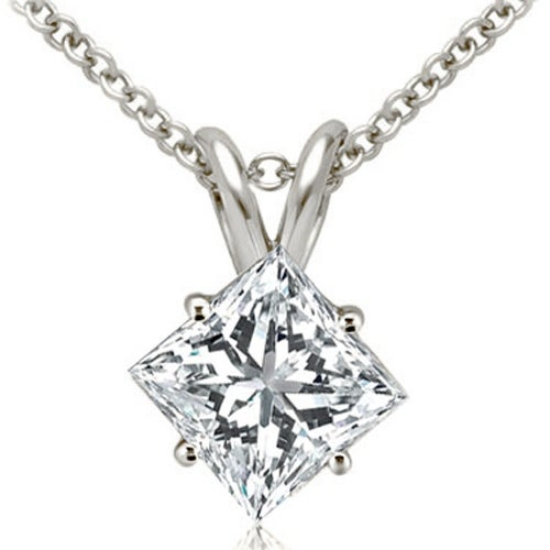 1.00 cttw. 14K White Gold Princess Cut Diamond 4-Prong Basket Solitaire Pendant