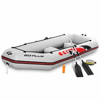 Goplus 3 4 Persons Inflatable Fishing Boat W Oars And Air Pump Water Sports