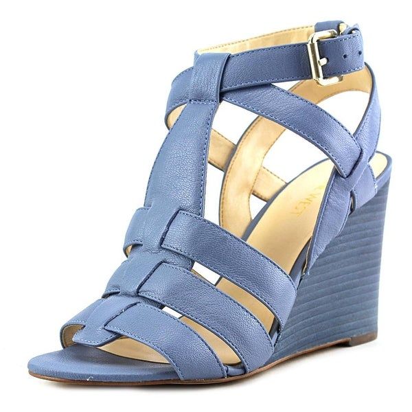 Nine West Farfalla Women Open Toe Leather Blue Wedge Sandal