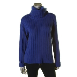 DKNY Womens Ribbed Knit Long Sleeves Turtleneck Sweater
