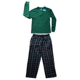 Men Cotton Thermal Top & Fleece Lined Pants Pajamas Set (Hunter Green)