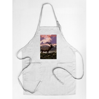 Rocky Mountain National Park, Colorado - Elk & Sunset - Lantern Press Artwork (Cotton/Polyester Chef's Apron)