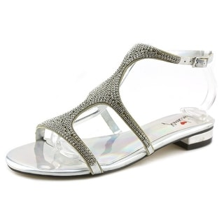 Luichiny Chan Ning Women Open-Toe Synthetic Silver Slingback Sandal