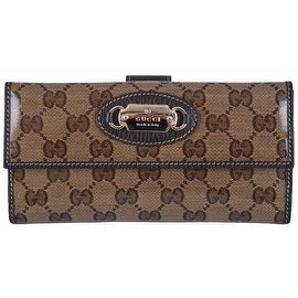 New Gucci 231841 Crystal Canvas GG Guccissima W/Coin Continental Clutch Wallet