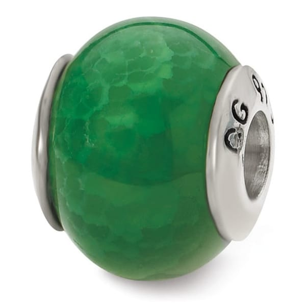 Sterling Silver Reflections Green Cracked Agate Stone Bead (4mm Diameter Hole)