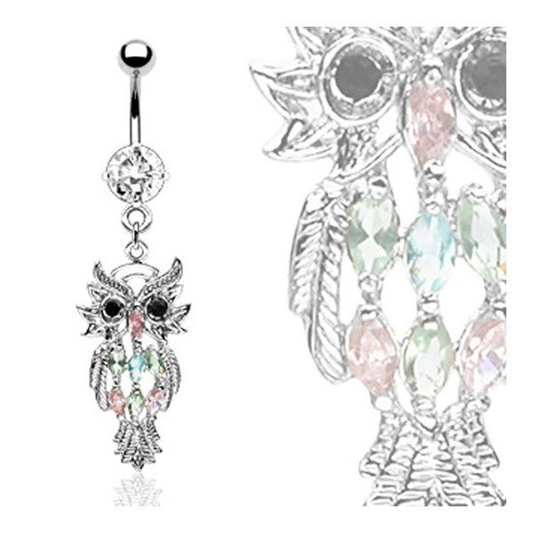 "Owl Navel Belly Button Ring with Assorted Marquise Gem - 14GA 3/8"" Long"