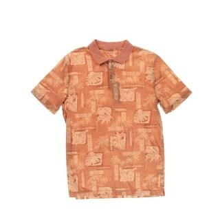 Campia Mens Cotton Ribbed Trim Hawaiian Print Shirt - L