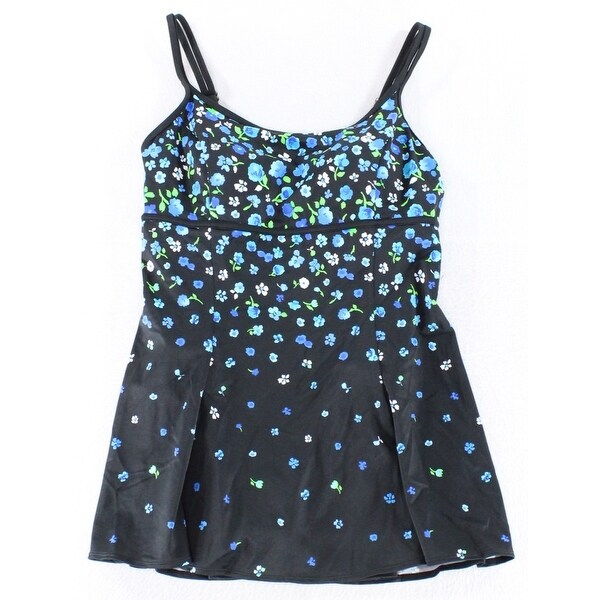 15c4ec99916 Shop Longitude NEW Black Blue Women s Size 12 Floral Print Swimdress - Free  Shipping On Orders Over  45 - Overstock.com - 20498988