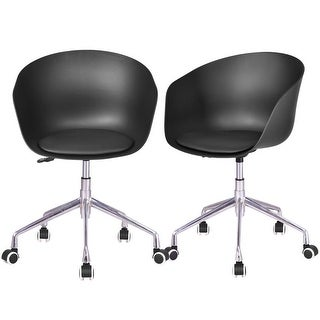 Gymax Set of 2 Desk Chair PP Swivel Height Adjustable Rolling Home Office Task Black
