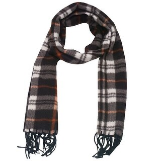 Girls Dark Brown Plaid Tartan Pattern Fringed Fleece Scarf