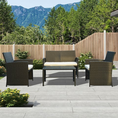 4-Piece Outdoor Rattan Furniture Patio Conversation Set with Cushions
