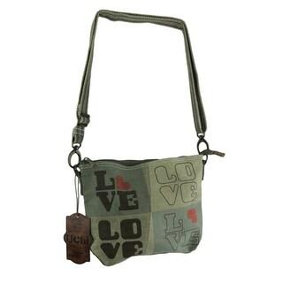 Retro Love Print Small Recycled Canvas Crossbody Bag