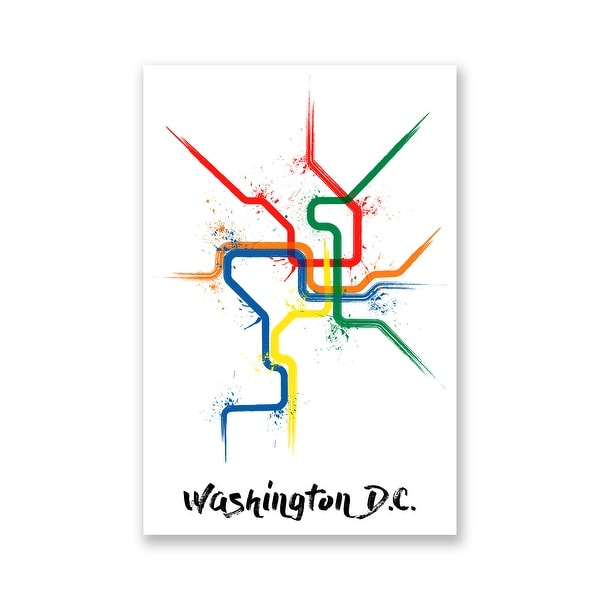Washington DC - Splatter Train Maps - 16x24 Matte Poster Print Wall Art
