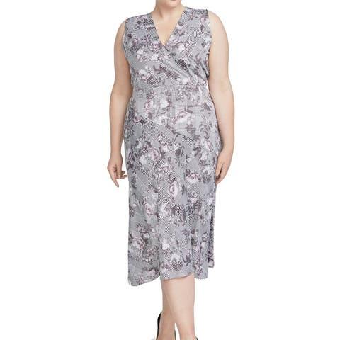 Rachel Rachel Roy Womens Dress White Size 20W Plus Sheath Floral Print