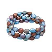 Honora Set of 3 9-10 mm Denim Baroque Freshwater Pearl Bracelets - multi-color