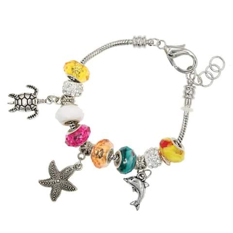 Handmade Sea Life Silver Interchangeable Charm Bead Fashion Bracelet