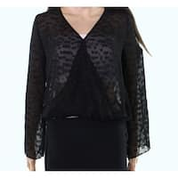 WAYF Deep Womens Small Textured Knit Bubble Hem Blouse