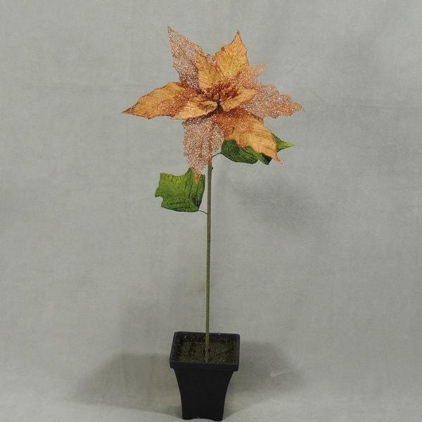 1 Pc 19 Inch Artificial Poinsettia Stem For Winter Christmas Decor Platinum Overstock 18777133