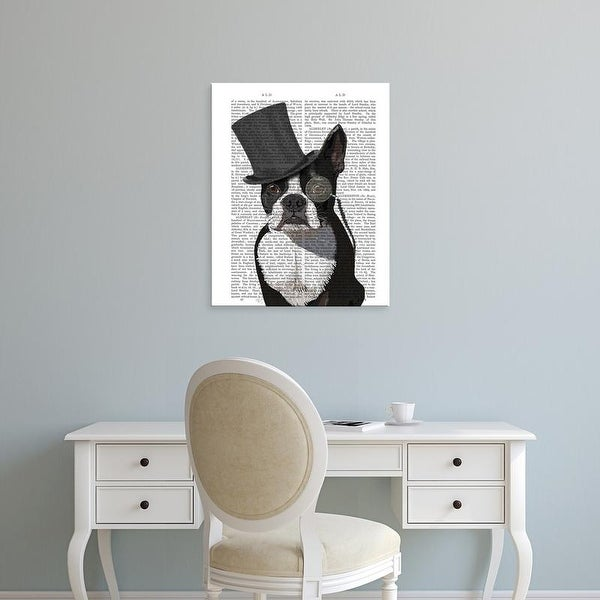 Easy Art Prints Fab Funky's 'Boston Terrier, Formal Hound and Hat' Premium Canvas Art