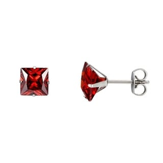Red Princess Cut Earrings Solitaire Surgical Stainless Steel Cubic Zirconia 7mm