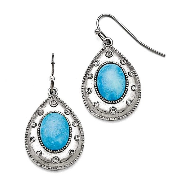 Chisel Stainless Steel Polished Imitation Turquoise and CZ Shepherd Hook Earrings