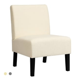 Link to Costway Armless Accent Fabric Leisure Chair w/Rubber Wood Legs - See Description Similar Items in Living Room Chairs