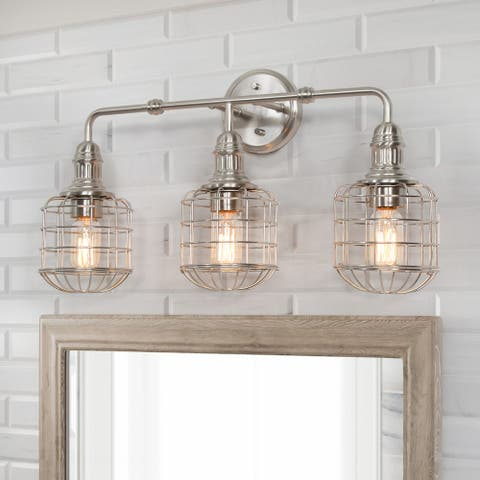 "Modern Transitional 3-light Cage Nickel Bathroom Vanity Lights Wall Sconces Lamp - L24""xW8.26""xH13.5"""