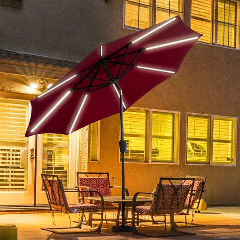 Gymax 9 FT Patio Waterproof Solar Umbrella LED Light Tilt Red