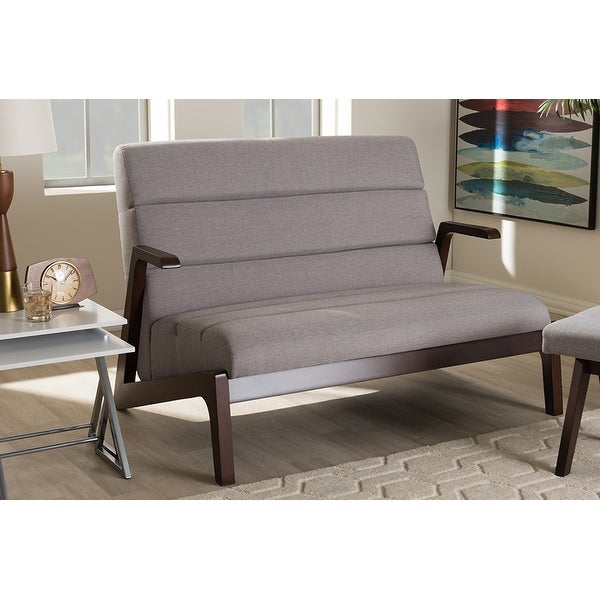 Vino Walnut Wood Grey Fabric 2 Seater Loveseat W/ High Density Foam