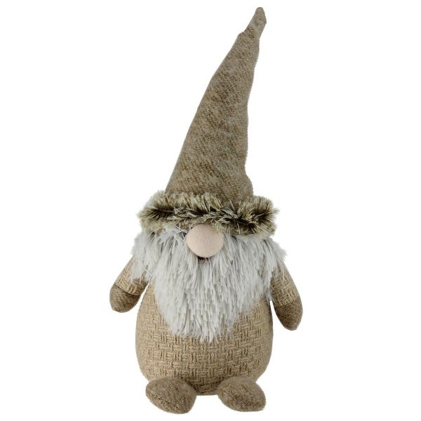 "17"" Holiday Moments Brown and White Yarn Nose Decorative Table Top Gnome"