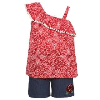 Little Girls Red Art Deco Print One Shoulder Strap 2 Pc Shorts Set