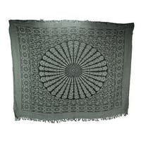 Black and White Boho Cotton Fringe Mandala Tapestry
