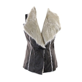 INC International Concepts Night Shearling Faux Suede & Fur Vest - L
