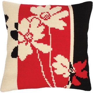 Collection D'art Stamped Needlepoint Cushion Kit 40X40cm-Red And Black Ii