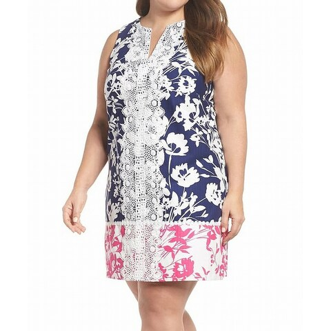 Eliza J Blue Womens Size 16W Plus Lace Trim Split Neck Shift Dress