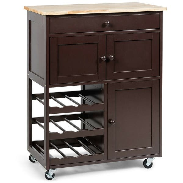 Shop Gymax Modern Rolling Kitchen Cart Trolley Island ...