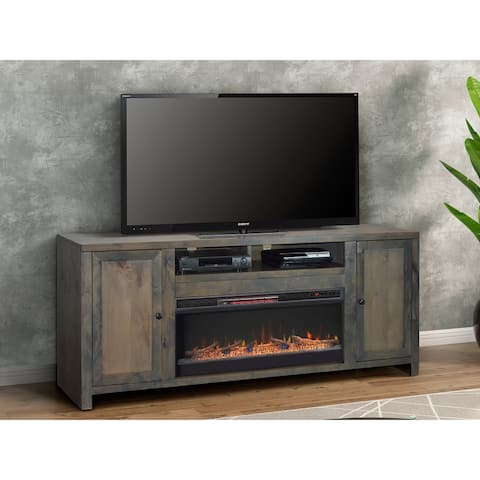 Carbon Loft Rustic TV Stand w/ Electric Fireplace