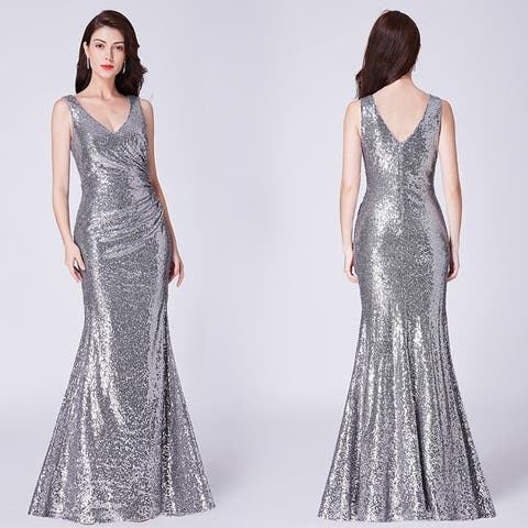 48d9ce98268 Ever-Pretty Women s Mermaid Pleated Waist Sequin Evening Party Cocktail  Dress 07405